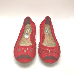 American Eagle Outfitters | Red Suede flats, 8.5